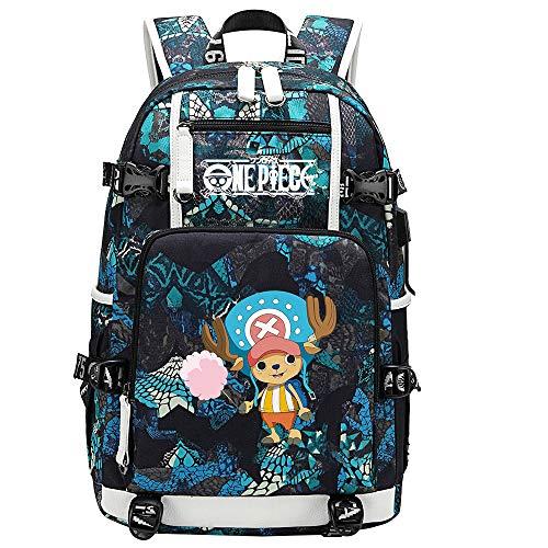 ZZGOO-LL One Piece Monkey·D·Luffy/Tony Tony Chopper Anime Backpacks Rucksack School for Men Women,Work,Tablet USB Unisex-E