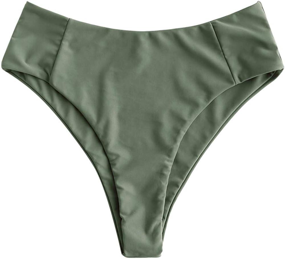 ZAFUL Women's Cheeky Brazilian Bikini Bottom Low Waist Full Coverage Swim Bottoms