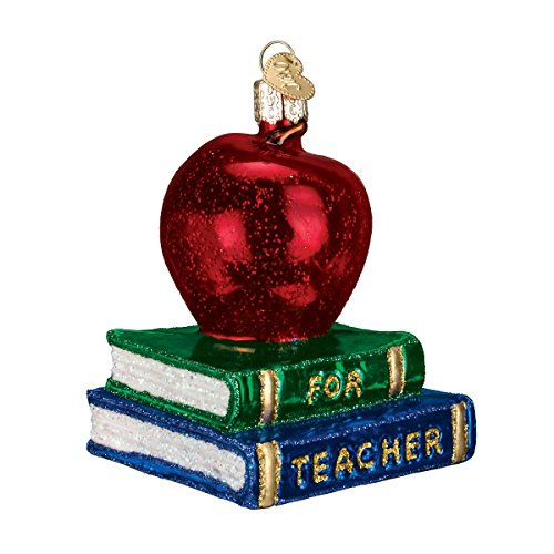 Glass Blown Apple Book Ornament