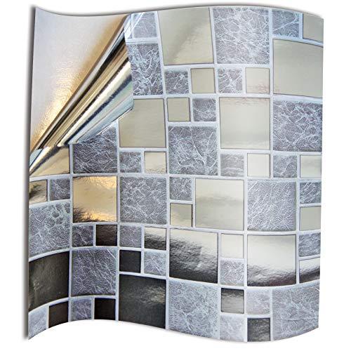24 Pz Argento cromato Adesivi per Piastrelle Formato 15 x 15cm Cucina Adesivi per Piastrelle per Bagno adesivi - Coperture per piastrelle in vinile piatto stampato in 2D sottile Argento cromato