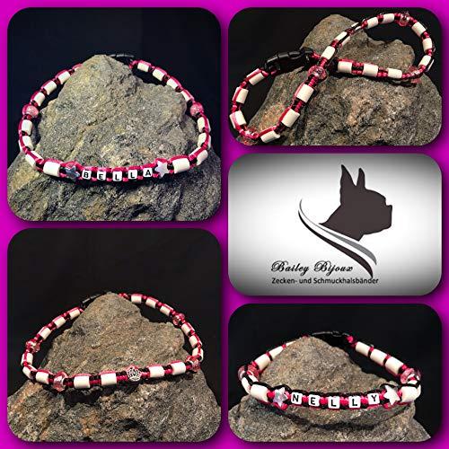 Bailey Bijoux Anti Zecken- und Schmuckhalsband * EM Keramik Halsband * für Hunde und Katzen * (SCHWARZ - PINK) * INDIVIDUALISIERBAR MIT Namen UND VERSCH. PERLEN (51 cm - 60 cm VERSTELLBAR)
