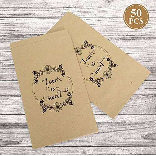 FRIDAY NIGHT Wedding Favors Candy Buffet Bags,50 pcs Brown Kraft Paper Party Favor Bag for Goody,Candy,Snacks
