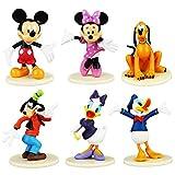 Mickey Cake Topper Mini Figurine Con Base,6 Pezzi Forniture per Decorazioni per Torte,Minnie,Paperino Mini Figure Set per la Decorazione Bella Torta Bella Festa di Compleanno per Bambini Shower