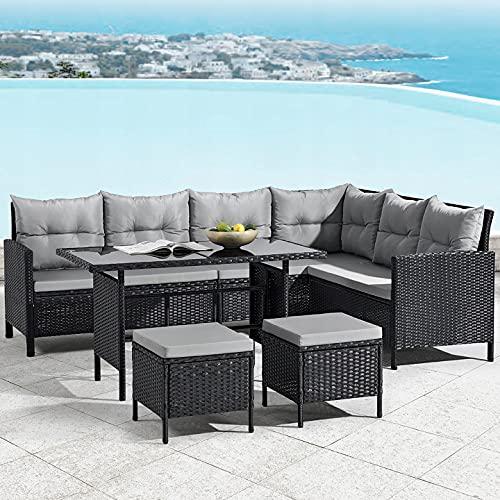 Juego de muebles de jardín Mónaco en negro con cojín gris