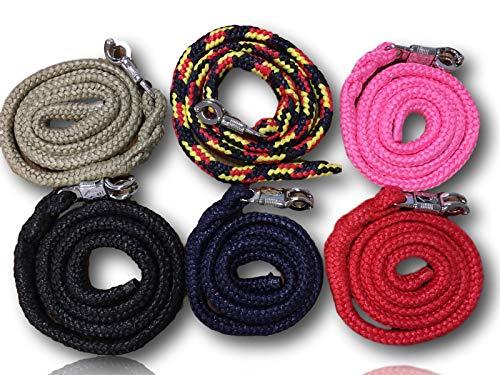 Cuerda de guía con gancho de pánico, para caballos, ponis, Shetty, burro, en muchos diseños elegantes, longitud 1,60 m (oliva)