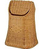 Papierkorb aus Rattan geflochten mit Schwingdeckel Farbe Honig