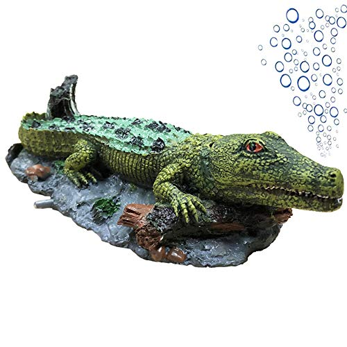 SLOCME Aquarium Crocodile Air Bubbler Decorations - Aerating Action Ornament,Oxygen Bubble Resin Crafts for Aquarium Fish Tank Decor