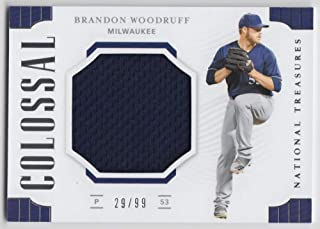 Brandon Woodruff 2019 Panini National Treasures Colossal Material JSY #21 NM-MT MEM #29/99 Brewers Baseball MLB