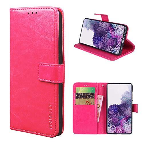 Funda para ZTE Zmax 10 Carcasa de Teléfono de Cuero PU Premium Estuche Protector para Billetera con Tapa Magnética, Compatible con ZTE Zmax 10, Rosa roja
