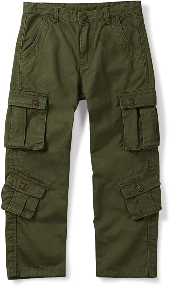 Phorecys Boys Cargo Pant, Cotton Boy Combat Trousers Zipper Button with 8 Pocket Army Green Tag 170-11-12 Years
