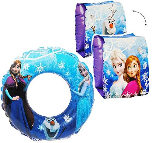 alles-meine.de GmbH 3 TLG. Set _ Schwimmflügel & Schwimmring - aufblasbar -  Disney die Eiskönigin - Frozen  - passend für 2 bis 6 Jahre - Schwimmärmel & Schwimmhilfe - für Mäd..