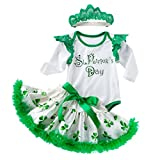 MEIbax Tre Pezzi Tuta St. Patrick's Day Trifoglio National Irish Letter Maglietta Stampa Shamrock Manica Corta + Gonna Tutu gonfi + Fascia per Capelli