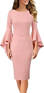Sponsored Ad - Vfshow Womens Bell Sleeve Cocktail Party Bodycon Pencil Sheath Dress
