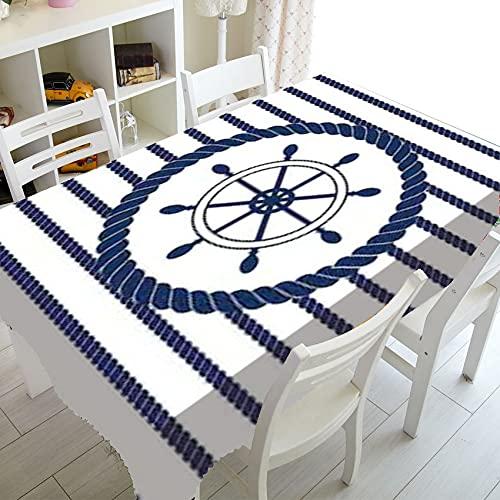 Mantel Impermeable de Faro de Cuerda Redonda de Ancla Azul Marino náutico, Utilizado para Cocina, Fiesta, Picnic, Exterior, Interior M-3 140x180cm