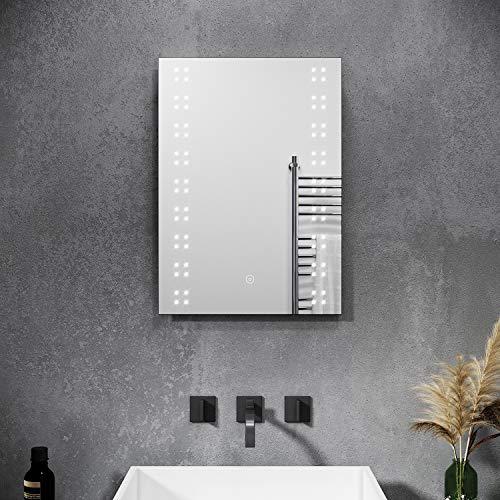 SONNI Spiegel mit Beleuchtung Energiesparend LED Licht Badezimmer Wandspiegel Beschlagfrei Badezimmerspiegel mit Touch-Schalter 50 x 70 cm