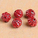 GZMUS 2 Unids Set Natural Genuino Cinnabar Talla Sunflower Blanco Lucky Spacer Feng Shui China Charm Beads para Pulseras Semi Preciosas para Curación DIY Crafts Joyería Haciendo Accesorios,11 * 10mm