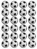 24 bolas de fútbol de 1,5 pulgadas para decoración de tartas de cumpleaños en papel de arroz comestible