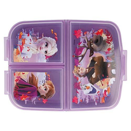 Frozen 2 Kinder Brotdose mit 3 Fächern, Kids Lunchbox,Bento Brotbox für Kinder - ideal für Schule, Kindergarten oder Freizeit
