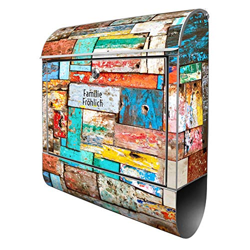 Banjado Design Briefkasten personalisiert mit Motiv Bunte Holzschindeln | Stahl pulverbeschichtet mit Zeitungsrolle | Größe 39x47x14cm, 2 Schlüssel, A4 Einwurf, inkl. Montagematerial