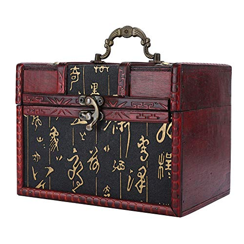 Vintage Wooden Storage Box, Portable Decorative Wooden Treasure Chest, 4 Styles Wooden Storage Trunk for Gift, Jewelry, Small Objects, Collectibles, Home Decor, etc(6262B-L)