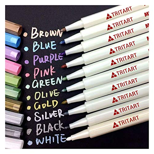 Tritart Profi Metallic Stifte Set für Fotoalbum - Scrapbook - Glatte Oberflächen | 10 Metallic Marker Pens GRATIS Schablonen