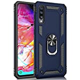 Korecase Compatible with Galaxy A70 Case, Extreme Protection Military Armor Dual Layer Protective Cover with 360 Degree Swivel Ring Kickstand Blue