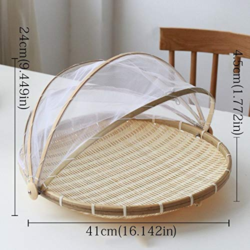 Handmade Bamboo Woven insectproof Wicker Basket, dustproof Picnic Fruit Plate Food Bread Plate with Gauze Panier Osier