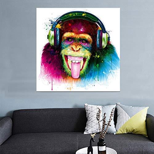 ganlanshu Singe Animal Grand imprimé Toile Moderne intéressant Penser Gorille avec Casque Art Mural,Peinture sans Cadre,45x45cm