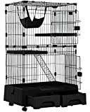 Cat Cage Playpen Kennel Crate 52.3 Inchs Height Cat House Cat Litter Box and Storage Case in One Pet Enclosure with 2 Front Doors 2 Ramp Ladders 2 Resting Platforms Beds Tray Hammock Cage for Cats