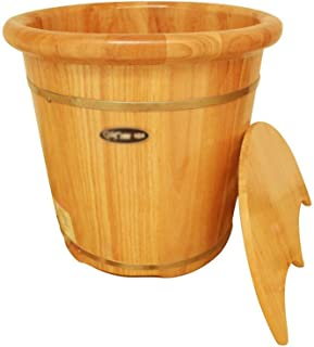 Qing MEI Household Footbath Oak Foot Bath 40cm High Adult Old Child Foot Bath Foot Bucket Available All Year Round A++