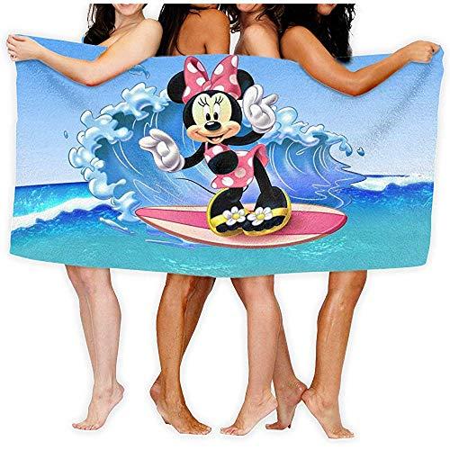 Lfff Minnie Mouse Surfing Sea Waves Weiches, leichtes Absorptionsmittel für das Bad Schwimmbad Yoga Picknickdecke Mikrofasertücher 80cm * 130cm