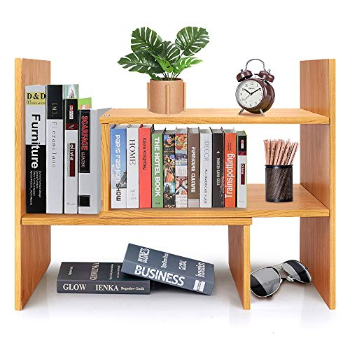 Desktop Bookshelf Adjustable Bamboo Display Shelf Bookcase Office Supplies Desk Organizer Storage Rack | Birthday Gifts - Toy - Home Decor - Natural Bamboo Stand Shelf