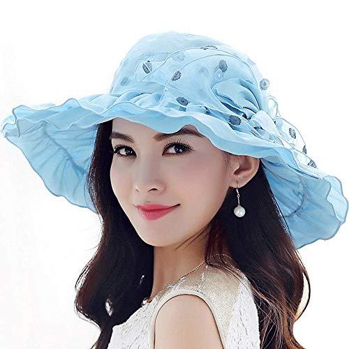 ZXL hoed - Dames zomer zonneklep opvouwbare UV zonnehoed outdoor reis vakantie strand hoed coole muts (blauw, beige) Lady zonnehoed (kleur: beige) blauw