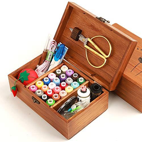 MKNZONE Caja de Costura de Madera - 68 Piezas Accesorios de Costura para Hilos de Coser, Tijeras, Agujas, Alfileres, Botones, Cinta Métrica etc