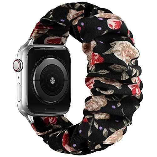 AdirMi Scrunchie Correa Elástica Compatible con Apple Watch Series SE 6 5 4 3 2 1, Patrón Estampado Cómoda Pulsera De Tela Compatible con iWatch 38mm/40mm 42mm/44mm,D,38/40mm(S)
