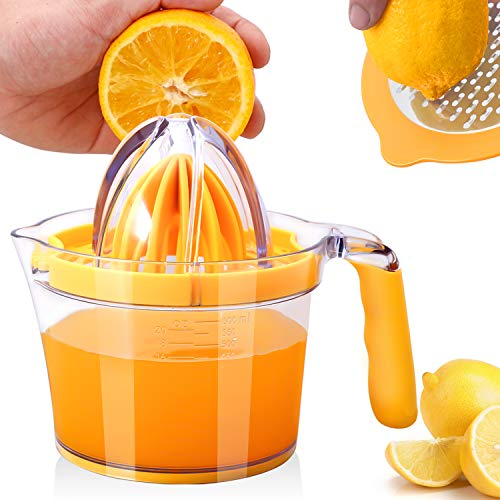 Drizom Citrus Lemon Orange Juicer Manual Hand Squeezer, Fruit Juicer Lime Press with Built-in Measuring Cup and Grater and Egg separator, Non-Slip Silicone Handle, 20OZ