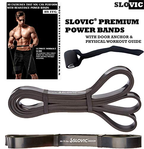 SLOVIC Resistance Band/Pull Up Band/Resistance Bands 42 Inch with Door Anchor for Calisthenics with Physical Booklet with 30 Exercises.(Black(30-75 LBS)).