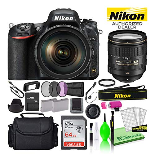 Nikon D750 24.3MP DSLR Digital Camera with 24-120mm VR Lens (1549) USA Model Deluxe Bundle -Includes- Sandisk 64GB SD Card + Large Camera Bag + Filter Kit + Spare Battery + Camera Cleaning Kit + More