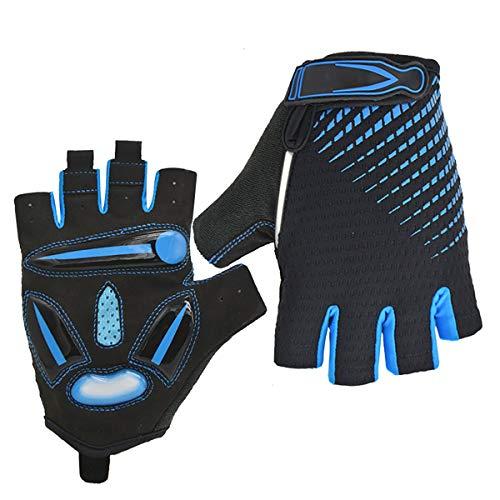 BRAZT Cycling Gloves, Half Finger Gel Padded Mountain Road Bike Gloves, Breathable Fingerless Gloves for Men Women Outdoor Gym Sports,Blue,XL