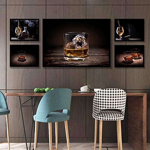 Decoración mural de la pared, arte moderno de la pared de la lona, pintura decorativa del cartel del cigarro de la copa de vino retro del vintage, decoración de la pared para la barra del dormitor