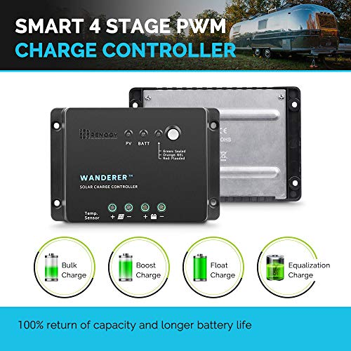 Renogy Wanderer 30 Amp 12V Advanced PWM Negative Ground Solar Charge Controller Battery Regulator Compatible with Sealed, Gel, and Flooded Batteries and Wanderer Temperature Sensor