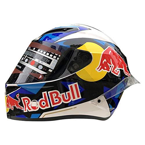 Motorrad Full Face Integralhelm, ECE Genehmigt Motocross Red Bull Helm ABS-Gehäuse Racing Modularer Motocrosshelme Motorradhelm Damen Und Herren A,L (57-59cm)