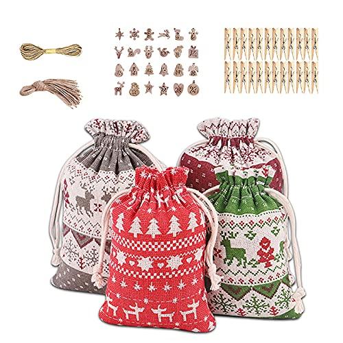 24 bolsas de regalo de arpillera de Navidad con cordón digital etiqueta de madera reutilizable bolsa de lino para regalo de Navidad, boda, cumpleaños, bolsa de almacenamiento para regalos de boda