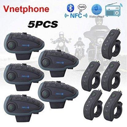 Intercomunicador Bluetooth 5 Sets Vnetphone V8 1200m Waterroof Bluetooth Intercomunicador 5 Riders Moto Intercomunicador con mando a distancia NFC FM de alta tecnología.
