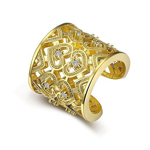 Impression Ring mit herzförmigen Details für Damen, vergoldet, für Hochzeit/Verlobung/Jahrestag, eleganter Ring, Unisex, klassisches romantisches Geschenk