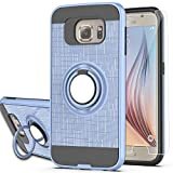 S6 Case,Galaxy S6 Phone Case with HD Screen Protector, YmhxcY 360 Degree Rotating Ring & Bracket Dual Layer Shock Bumper Cover for Galaxy S6 S VI G9200 GS6-ZH Metal Slate