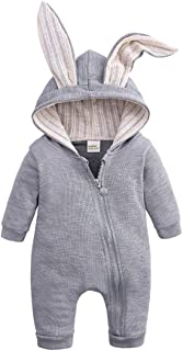 Baby Boys Girls Hooded Romper 3D Rabbit Ear Zipper Solid Color Jumpsuit Winter Cozy Outfits 0-24M