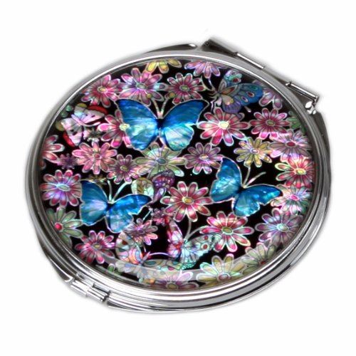 Mother of Pearl Blue Butterfly Design Double Compact Makeup Cosmetic Personal Handbag Purse Mirror, 3.2 Ounce by Antique Alive