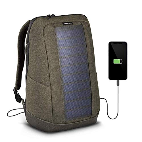 SUNNYBAG Iconic Solar-Rucksack mit integriertem 7 Watt Solar-Panel | USB-Anschluss | Wireless-Charging | Laptop-Fach für 17-Zoll-Notebook | 20 Liter | Wasserabweisend | Olive-Brown