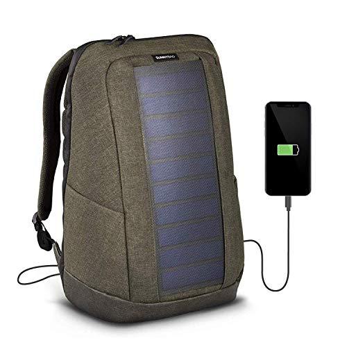 Sunnybag Iconic Solar-Rucksack mit integriertem 7 Watt Solar-Panel | USB-Anschluss | Wireless-Charging | Laptop-Fach für 17-Zoll-Notebook | 20 Liter | Wasserabweisend | Olive-Brown